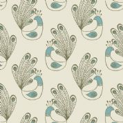 Lewis & Irene Home Sweet Home - 4166 - Green Peacocks on Cream - A99.2 - Cotton Fabric